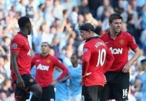 Cara de lamentación presentes en la caras de los jugadores del United.