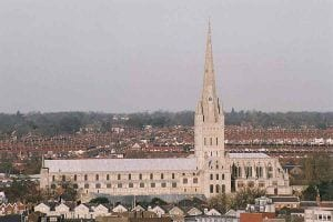 Norwich Cathedral from high up 90140006