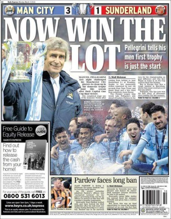 Portada deportiva del Daily Express