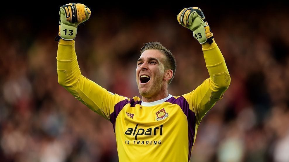 LONDON, ENGLAND - OCTOBER 05:  Adrian of West Ham celebrates after his team-mate Diafra Sakho scored their second goal during the Barclays Premier League match between West Ham United and Queens Park Rangers at Boleyn Ground on October 5, 2014 in London, England.  (Photo by Jamie McDonald/Getty Images)