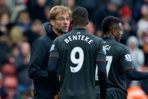 SOUTHAMPTON, ENGLAND - Sunday, March 20, 2016: Liverpool's manager J¸rgen Klopp and Christian Benteke after losing 3-2 to Southampton during the FA Premier League match at St Mary's Stadium. (Pic by David Rawcliffe/Propaganda)